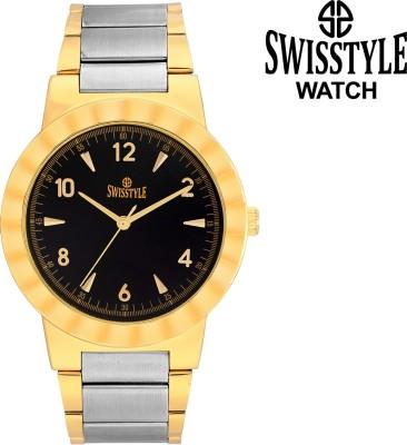 Swisstyle Golden Plated-Ss-Gr021-Blk Analog Watch  - For Men
