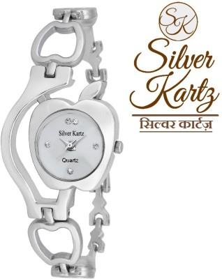 Silver Kartz Swarovski Apple Analog Watch  - For Girls, Women