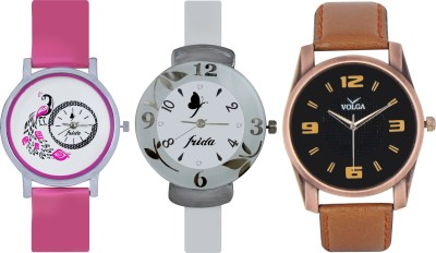 Frida Designer VOLGA Beautiful New Branded Type Watches Men and Women Combo645 VOLGA Band Analog Watch  - For Couple