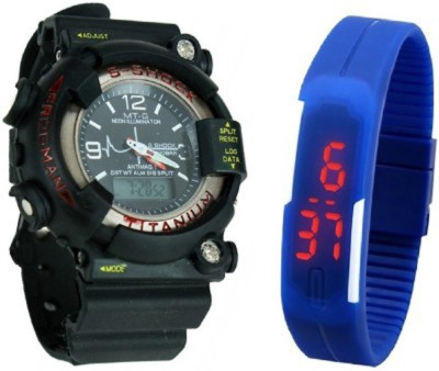 Y And D Led Strap Band + Sshock Digital Watch  - For Boys, Couple, Girls, Men, Women