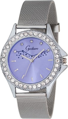 Gesture Gesture Purpple Diamond Studded Strap Type Chain Watch Analog Watch  - For Women