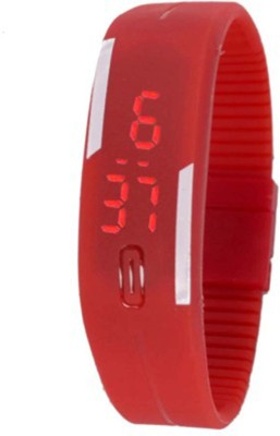 Muun Red Rubber Magnet Led Digital Watch  - For Boys