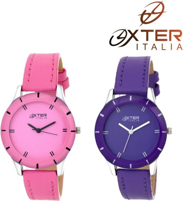OXTER Stylish Pink and Excellent Blue Dazzle Collection Analog Watch  - For Women