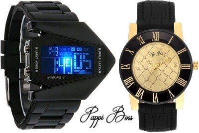 Pappi Boss Pack of 2 LED Aircraft Model with light DISPLAY & High End Collection GOLDEN DESIRE Leather Analog-Digital Watch  - For Boys, Men