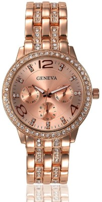 Geneva Platinum Studded Rose Gold Analog Watch  - For Women