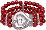 SHH Red Moti Heart Design Bracelet Analo...