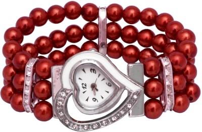 SHH Red Moti Heart Design Bracelet Analog Watch  - For Women