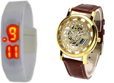 Cosmic WHITE MAGNET LED BAND AND BROWN TRANSPARENT Analog-Digital Watch - For Boys, Men, Girls, Women, Couple