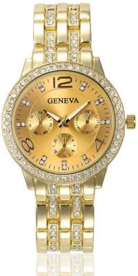 Geneva Platinum Studded Gold Analog Watch  - For Women