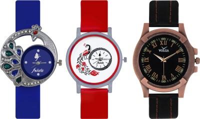 Frida Designer VOLGA Beautiful New Branded Type Watches Men and Women Combo498 VOLGA Band Analog Watch  - For Couple