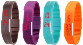NS18 Silicone Led Magnet Band Combo of 4 Brown, Purple, Sky Blue And Orange Digital Watch - For Boys & Girls