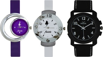 Frida Designer VOLGA Beautiful New Branded Type Watches Men and Women Combo711 VOLGA Band Analog Watch  - For Couple