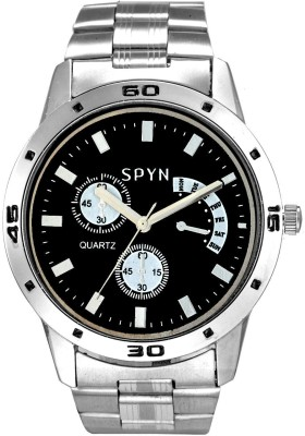SPYN Chronograph Pattern Black Analog Watch  - For Boys, Men, Girls, Women, Couple