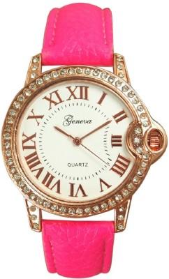 Geneva Platinum Roman Number Dial Studded Analog Watch  - For Women, Girls