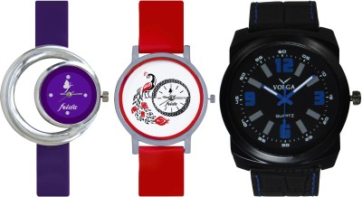 Frida Designer VOLGA Beautiful New Branded Type Watches Men and Women Combo692 VOLGA Band Analog Watch  - For Couple