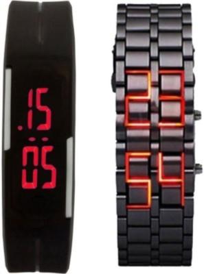 SJ Digital Combo Watch Steel and Rubber Band Analog Watch  - For Boys, Men, Girls, Women, Couple