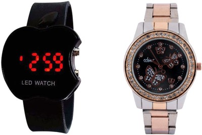 COSMIC COPPER SILVER THEME ANALOG WOMEN WATCH WITH FREE BLACK APPLE LED-2 Analog-Digital Watch - For Girls, Women