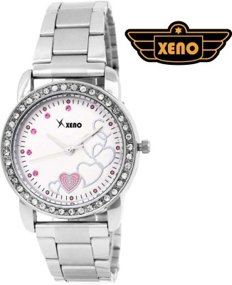 Xeno ZD000283 Pink Heart Diamond Studded Women Analog Watch  - For Women, Girls