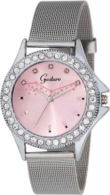 Gesture Gesture Pink Diamond Studded Strap Type Chain Watch Analog Watch  - For Women