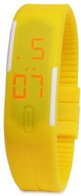 Muun Yellow Rubber Magnet Led Digital Watch  - For Girls
