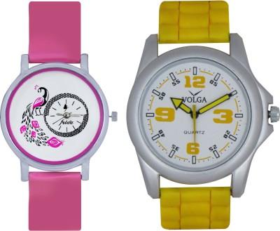 Frida Designer VOLGA Beautiful New Branded Type Watches Men and Women Combo78 VOLGA Band Analog Watch  - For Couple