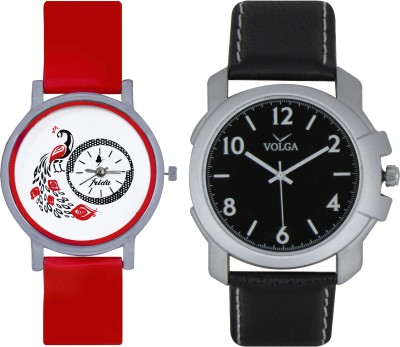 Frida Designer VOLGA Beautiful New Branded Type Watches Men and Women Combo177 VOLGA Band Analog Watch  - For Couple