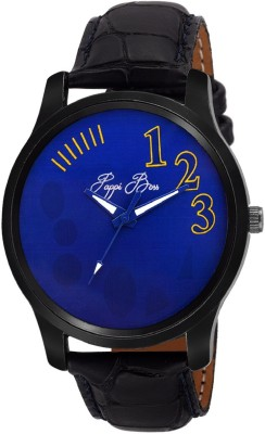 Pappi Boss Sober Blue Dial Black Leather Casual Analog Watch  - For Boys, Men