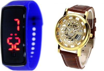 Cosmic DARK BLUE BUTTON LED BAND AND TRANSPARENT BROWN Analog-Digital Watch  - For Boys, Couple, Girls, Men, Women