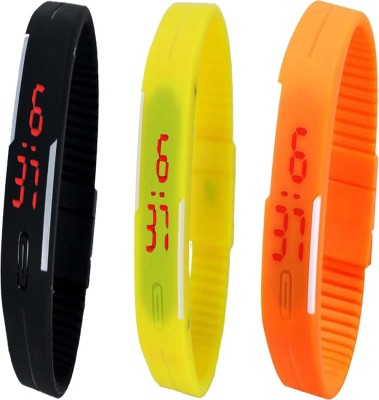 Y And D Combo of Led Band Black + Yellow + Orange Digital Watch  - For Boys, Couple, Girls, Women, Men