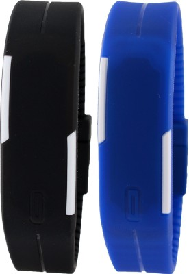 Pappi Boss Unisex Set of 2 Black & Dark Blue Silicone LED Band Digital Watch  - For Boys, Men, Girls, Women