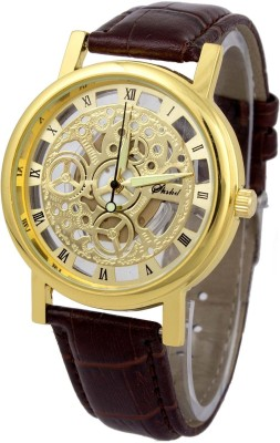 Tager Luxury Skeleton Look Brown Leather Belt Gold Dial Wrist Analog Watch  - For Men