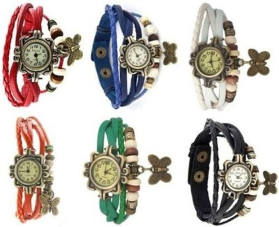 Designculture dgcCMBO-005 Vintage Butterfly Combo Set 6 Analog Watch  - For Girls