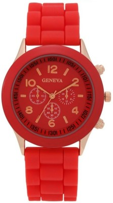 Geneva Quartz Candy Red Dial Silicone Strap Analog Watch  - For Women, Girls