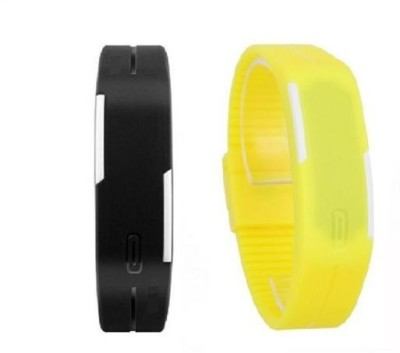 i-gadgets Silicon Black And Yellow Led Digital Watch  - For Men, Boys