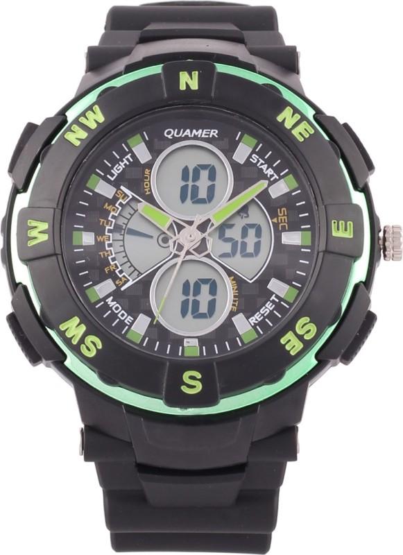 Quamer Sd 1316grn Blk Fashion Analog Digital Watch For Men