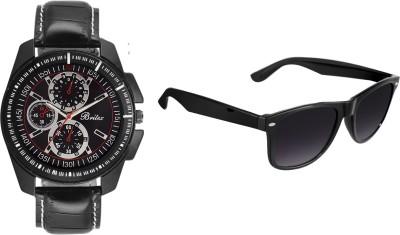Britex BT6033+BT007 Couleur Noire Combo Analog Watch  - For Boys, Men