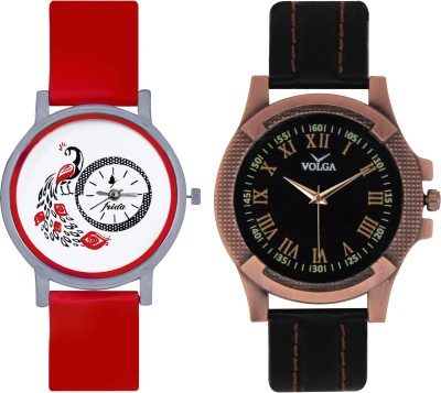 Frida Designer VOLGA Beautiful New Branded Type Watches Men and Women Combo165 VOLGA Band Analog Watch  - For Couple