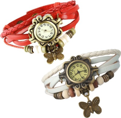 Mobspy Combo of 2 VB-310 Vintage Butterfly Analog Watch  - For Girls, Women