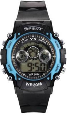 Castech Multifunctional Blue on Black Sports 7 Light Digital Watch  - For Boys
