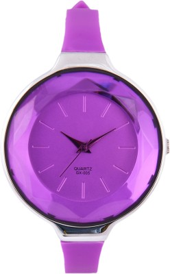 3WISH Purple Crystal Glass Dial Analog Watch - For Women