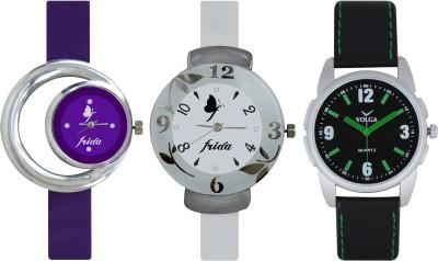 Frida Designer VOLGA Beautiful New Branded Type Watches Men and Women Combo723 VOLGA Band Analog Watch  - For Couple