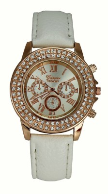 Geneva Platinum Double Layer Studded Analog Watch - For Women, Girls