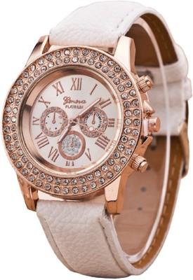 Geneva Platinum Double Layer Studded Analog Watch  - For Women, Girls
