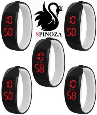 SPINOZA black digital sporty stylish beautiful watches set of 5 for girls, boys Digital Watch  - For Boys