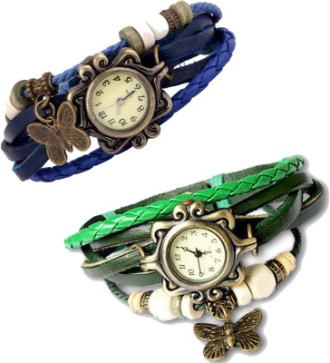 Y And D Combo of 2 VB-310 Vintage Butterfly Analog Watch  - For Girls, Women