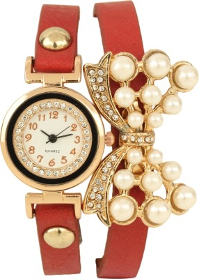 Addic Chic Red Double Strap Bow Golden WW003 Analog Watch  - For Women