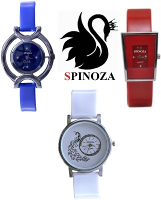 SPINOZA glory blue white red peacock beautiful watches pack of 3 for girls Analog Watch  - For Women