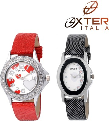 OXTER Lovey Red and Smart Black Classic Collection Analog Watch  - For Women