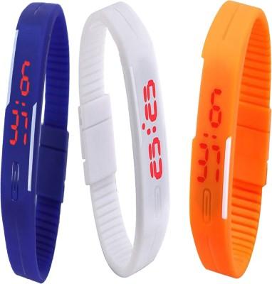 Twok Combo of Led Band Blue + White + Orange Digital Watch - For Men & Women