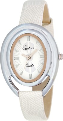 Gesture Gesture 8013-White Oval Printed Strap Watch Printed Strap Analog Watch  - For Women